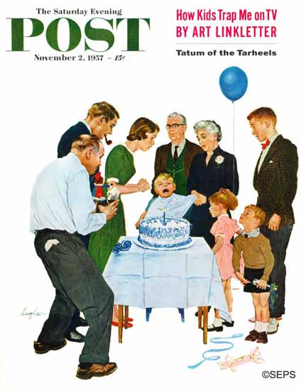 George Hughes Saturday Evening Post First Birthday 1957_11_02 | The Saturday Evening Post Graphic Art Covers 1931-1969