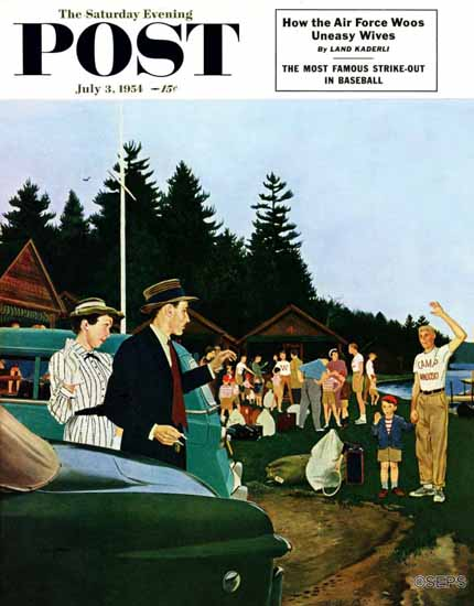 George Hughes Saturday Evening Post First Day at Camp 1954_07_03 | The Saturday Evening Post Graphic Art Covers 1931-1969