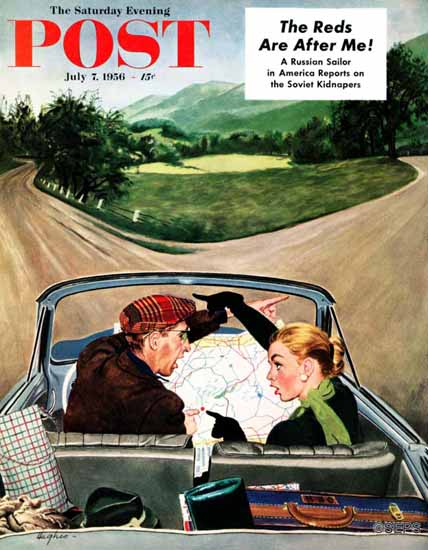 George Hughes Saturday Evening Post Fork in the Road 1956_07_07 | The Saturday Evening Post Graphic Art Covers 1931-1969
