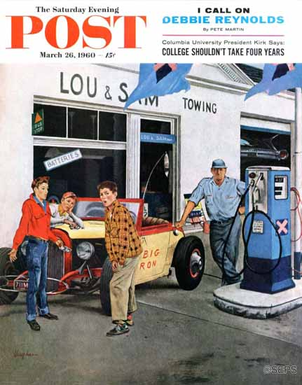 George Hughes Saturday Evening Post Gas Money 1960_03_26 | The Saturday Evening Post Graphic Art Covers 1931-1969