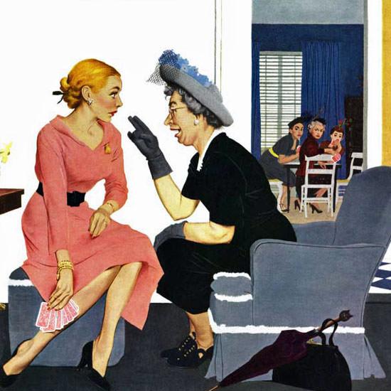 George Hughes Saturday Evening Post Gossip 1951_05_12 Copyright crop   Best of Vintage Cover Art 1900-1970