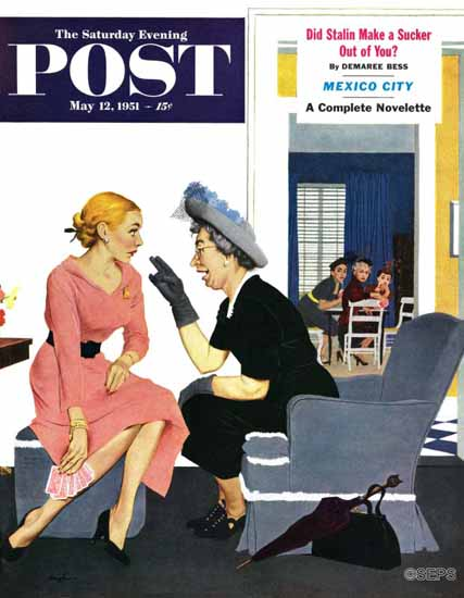 George Hughes Saturday Evening Post Gossiping Neighbor 1951_05_12 | The Saturday Evening Post Graphic Art Covers 1931-1969