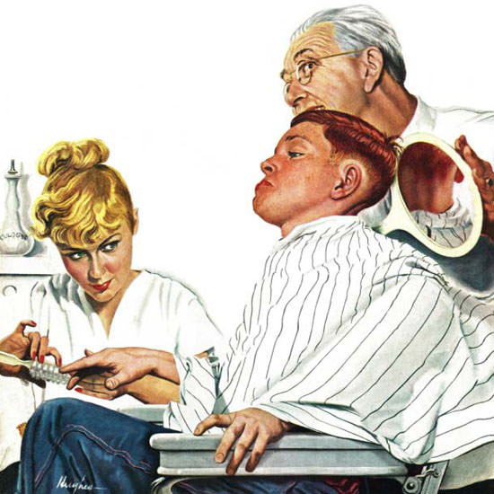 George Hughes Saturday Evening Post Haircut 1948_12_11 Copyright crop | Best of Vintage Cover Art 1900-1970