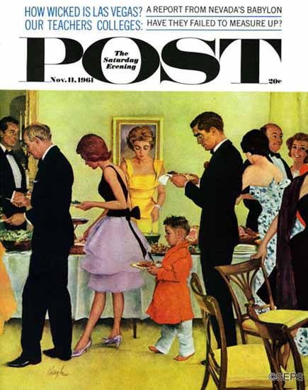 George Hughes Saturday Evening Post Hitting the Buffet 1961_11_11 | The Saturday Evening Post Graphic Art Covers 1931-1969
