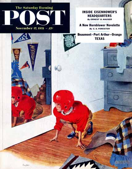 George Hughes Saturday Evening Post Home Football 1951_11_17 | The Saturday Evening Post Graphic Art Covers 1931-1969