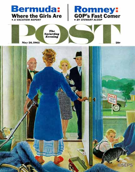 George Hughes Saturday Evening Post Home Showing 1962_05_26 | The Saturday Evening Post Graphic Art Covers 1931-1969