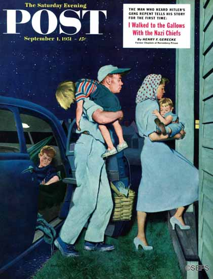 George Hughes Saturday Evening Post Home at Last 1951_09_01 | The Saturday Evening Post Graphic Art Covers 1931-1969