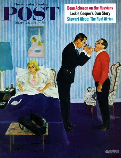 George Hughes Saturday Evening Post House Call 1961_03_25 | The Saturday Evening Post Graphic Art Covers 1931-1969