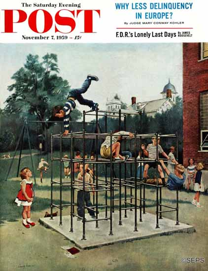 George Hughes Saturday Evening Post Jungle Gym 1959_11_07 | The Saturday Evening Post Graphic Art Covers 1931-1969