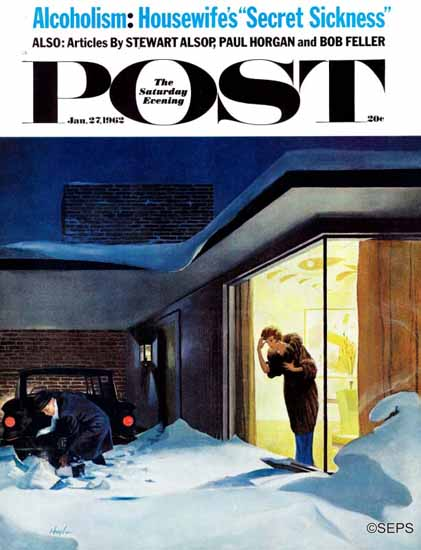 George Hughes Saturday Evening Post Late for Party Snow 1962_01_27   The Saturday Evening Post Graphic Art Covers 1931-1969