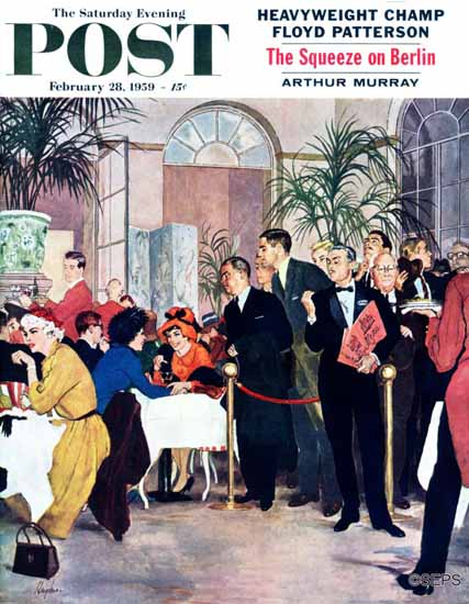George Hughes Saturday Evening Post Leisurely Lunch 1959_02_28 | The Saturday Evening Post Graphic Art Covers 1931-1969