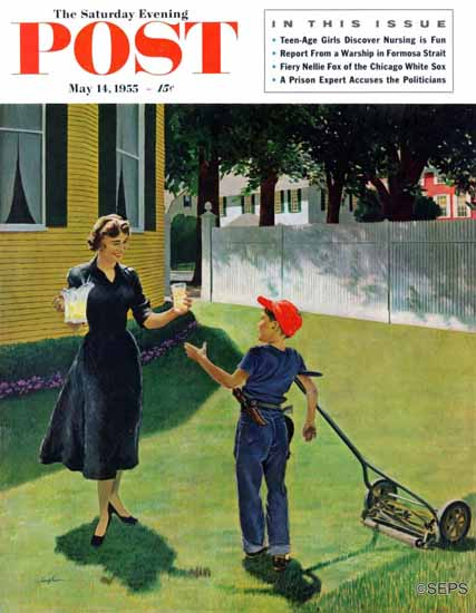 George Hughes Saturday Evening Post Lemonade Lawnboy 1955_05_14 | The Saturday Evening Post Graphic Art Covers 1931-1969