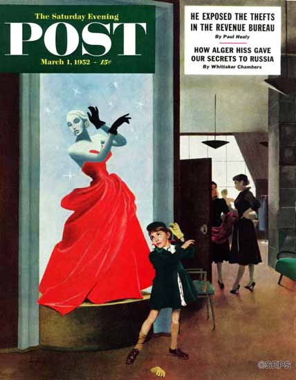 George Hughes Saturday Evening Post Mannequin 1952_03_01 | The Saturday Evening Post Graphic Art Covers 1931-1969