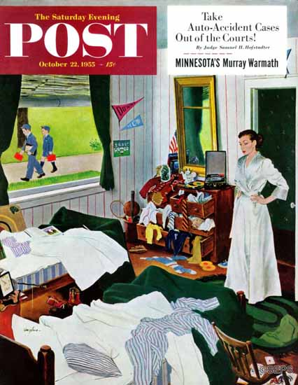 George Hughes Saturday Evening Post Messy Room Neat Boy 1955_10_22 | The Saturday Evening Post Graphic Art Covers 1931-1969