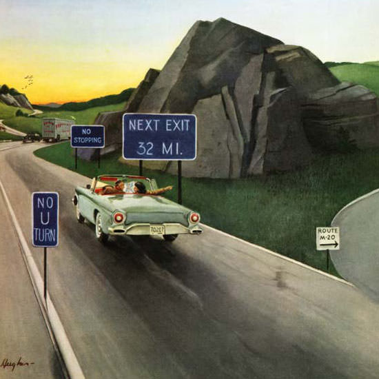 George Hughes Saturday Evening Post Missed 1957_06_15 Copyright crop   Best of Vintage Cover Art 1900-1970
