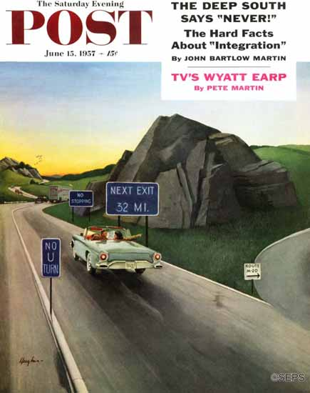 George Hughes Saturday Evening Post Missed Exit 1957_06_15 | The Saturday Evening Post Graphic Art Covers 1931-1969