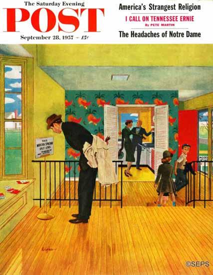 George Hughes Saturday Evening Post Model Home 1957_09_28 | The Saturday Evening Post Graphic Art Covers 1931-1969
