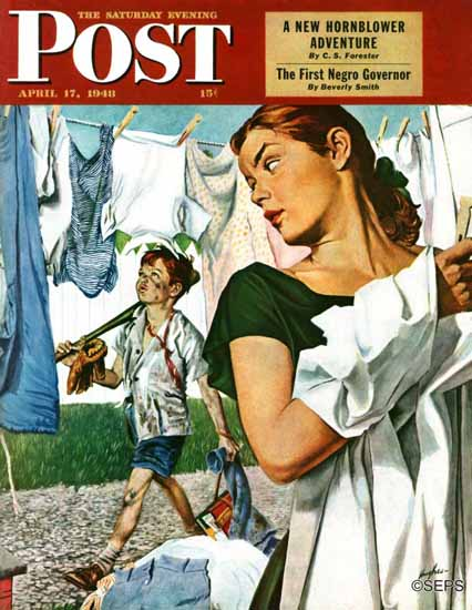 George Hughes Saturday Evening Post More Clothes to Clean 1948_04_17 | The Saturday Evening Post Graphic Art Covers 1931-1969