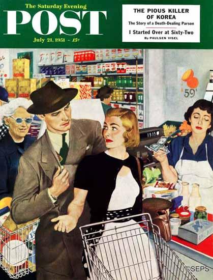 George Hughes Saturday Evening Post More Money Honey 1951_07_21 | The Saturday Evening Post Graphic Art Covers 1931-1969
