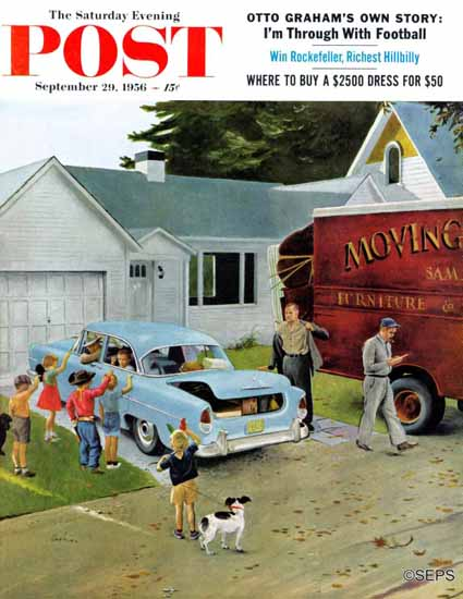 George Hughes Saturday Evening Post Moving Day 1956_09_29   The Saturday Evening Post Graphic Art Covers 1931-1969