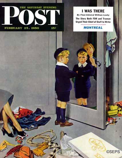George Hughes Saturday Evening Post New Blue Suit 1950_02_25 | The Saturday Evening Post Graphic Art Covers 1931-1969