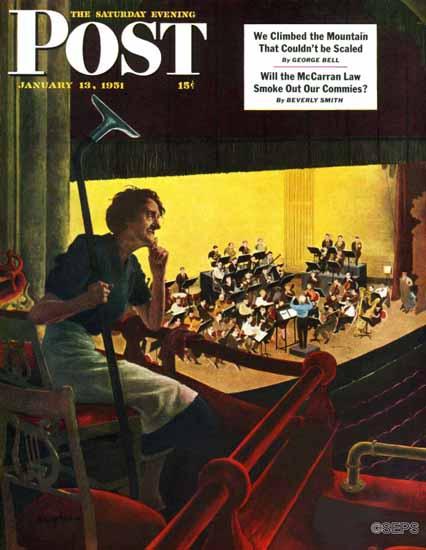 George Hughes Saturday Evening Post Orchestra Rehearsal 1951_01_13   The Saturday Evening Post Graphic Art Covers 1931-1969