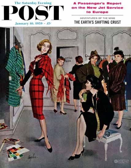 George Hughes Saturday Evening Post Perfect Fit 1959_01_10   The Saturday Evening Post Graphic Art Covers 1931-1969