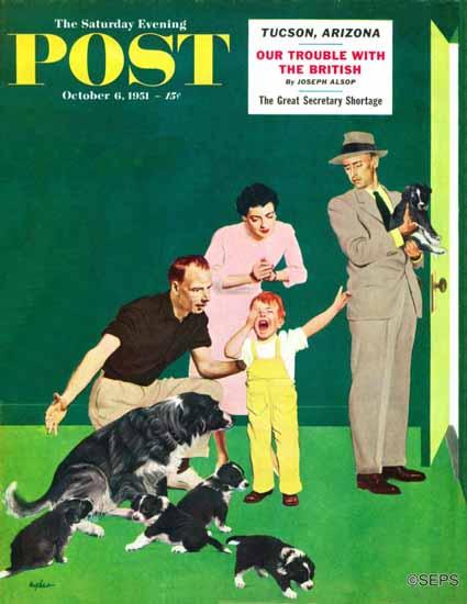 George Hughes Saturday Evening Post Puppy Sale 1951_10_06 | The Saturday Evening Post Graphic Art Covers 1931-1969