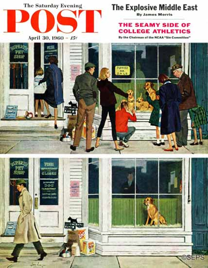 George Hughes Saturday Evening Post Puppy Sellout 1960_04_30 | The Saturday Evening Post Graphic Art Covers 1931-1969