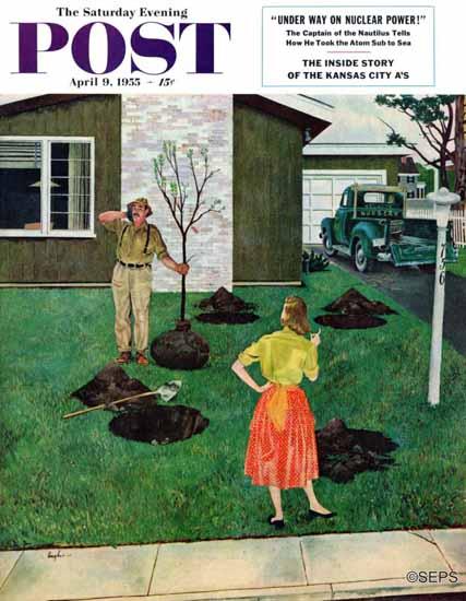 George Hughes Saturday Evening Post Put the Tree There 1955_04_09   The Saturday Evening Post Graphic Art Covers 1931-1969