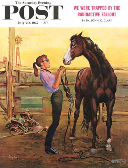 George Hughes Saturday Evening Post Putting on the Bridle 1957_07_20 | The Saturday Evening Post Graphic Art Covers 1931-1969