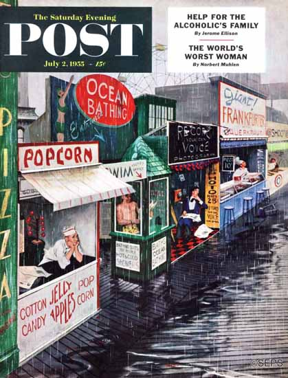 George Hughes Saturday Evening Post Rain on the Boardwalk 1955_07_02 | The Saturday Evening Post Graphic Art Covers 1931-1969