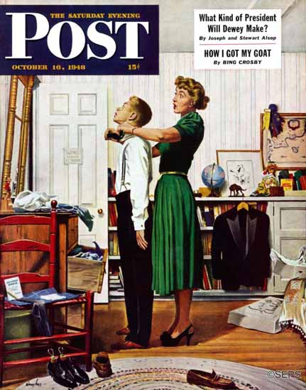 George Hughes Saturday Evening Post Readying for First Date 1948_10_16 | The Saturday Evening Post Graphic Art Covers 1931-1969