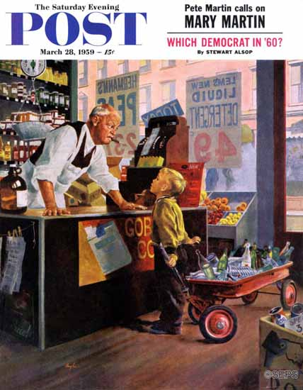 George Hughes Saturday Evening Post Returning Bottles 1959_03_28 | The Saturday Evening Post Graphic Art Covers 1931-1969