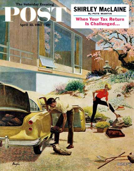 George Hughes Saturday Evening Post Rock Garden 1961_04_22 | The Saturday Evening Post Graphic Art Covers 1931-1969