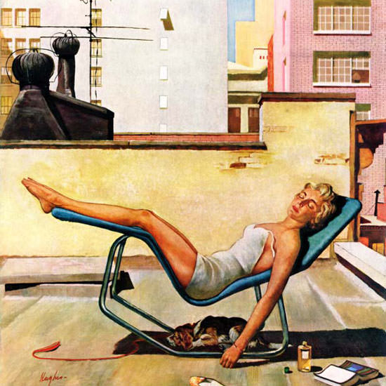 George Hughes Saturday Evening Post Roof 1959_05_09 Copyright crop | Best of Vintage Cover Art 1900-1970