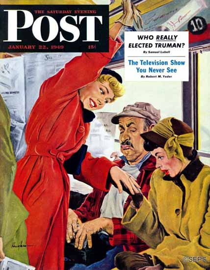George Hughes Saturday Evening Post Showing Off Her Ring 1949_01_22 | The Saturday Evening Post Graphic Art Covers 1931-1969