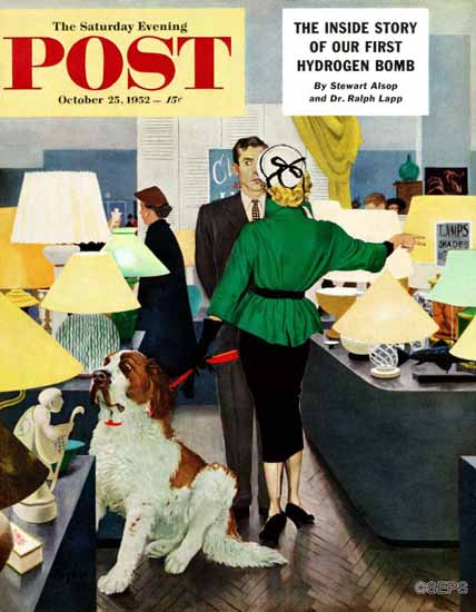 George Hughes Saturday Evening Post St Bernard Lamp Shop 1952_10_25 | The Saturday Evening Post Graphic Art Covers 1931-1969