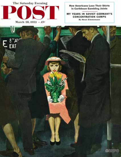 George Hughes Saturday Evening Post Subway Girl Easter Lily 1953_03_28 | The Saturday Evening Post Graphic Art Covers 1931-1969