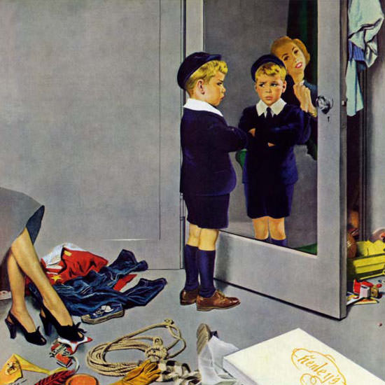 George Hughes Saturday Evening Post Suit 1950_02_25 Copyright crop | Best of Vintage Cover Art 1900-1970