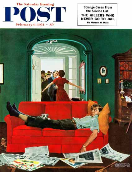 George Hughes Saturday Evening Post Sunday Visitors 1954_02_06 | The Saturday Evening Post Graphic Art Covers 1931-1969