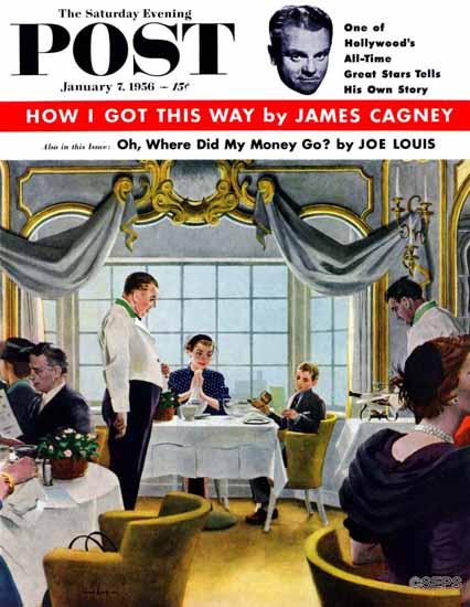 George Hughes Saturday Evening Post Taking Mom to Lunch 1956_01_07 | The Saturday Evening Post Graphic Art Covers 1931-1969