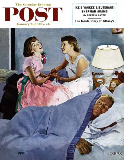 George Hughes Saturday Evening Post Telling Mom About 1953_01_24 | The Saturday Evening Post Graphic Art Covers 1931-1969