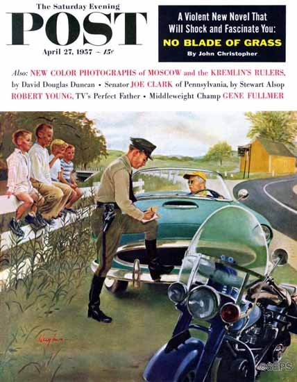 George Hughes Saturday Evening Post Ticket for Roadster 1957_04_27 | The Saturday Evening Post Graphic Art Covers 1931-1969