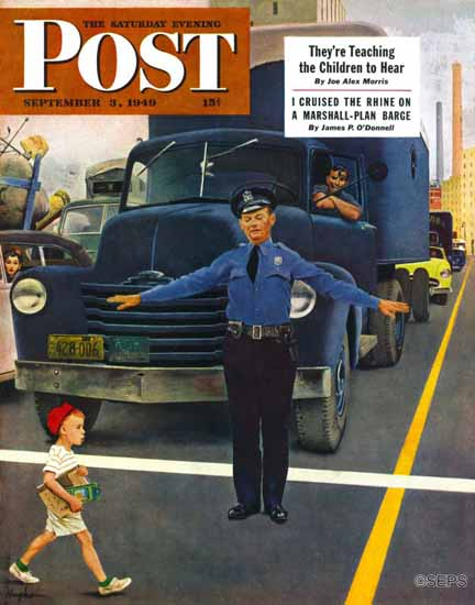 George Hughes Saturday Evening Post Traffic Cop 1949_09_03 | The Saturday Evening Post Graphic Art Covers 1931-1969