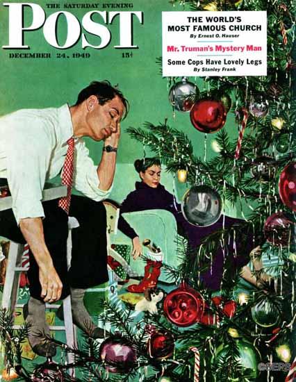 George Hughes Saturday Evening Post Trimming the Tree 1949_12_24 | The Saturday Evening Post Graphic Art Covers 1931-1969