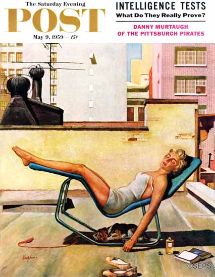 George Hughes Saturday Evening Post Up On the Roof 1959_05_09 | The Saturday Evening Post Graphic Art Covers 1931-1969