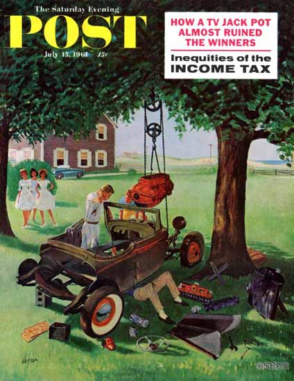 George Hughes Saturday Evening Post Working on the Jalopy 1961_07_15 | The Saturday Evening Post Graphic Art Covers 1931-1969