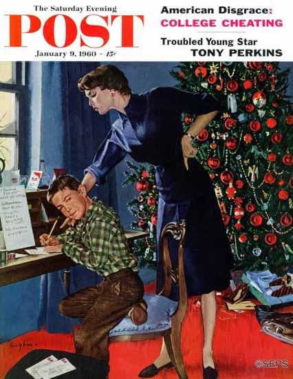 George Hughes Saturday Evening Post Xmas Thank You Notes 1960_01_09 | The Saturday Evening Post Graphic Art Covers 1931-1969