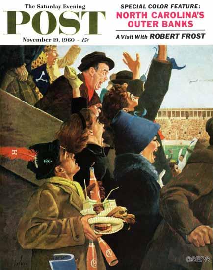 George Hughes Saturday Evening Post Yale vs Harvard 1960_11_19 | The Saturday Evening Post Graphic Art Covers 1931-1969